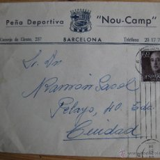 Coleccionismo deportivo: SOBRE CON MEMBRETE DE LA PEÑA DEPORTIVA NOU-CAMP BARCELONA. Lote 52385159
