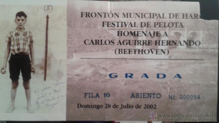 ENTRADA PELOTA EN HARO 2002 HOMENAJE A BEETHOVEN (Coleccionismo Deportivo - Documentos de Deportes - Otros)