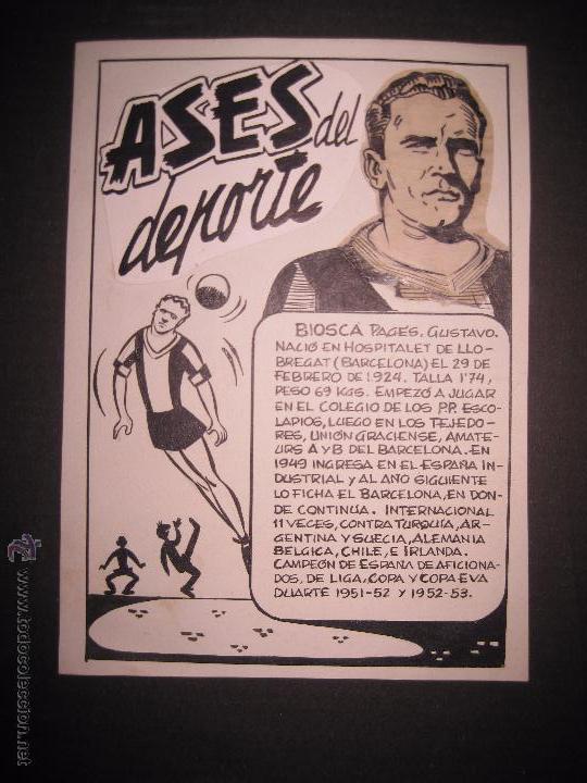 BIOSCA - F.C. BARCELONA - ASES DEL DEPORTE- ORIGINAL A PLUMA -VER FOTOS -(V-3531) (Coleccionismo Deportivo - Documentos de Deportes - Otros)