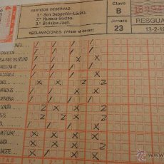 Coleccionismo deportivo: ANTIGUO RESGUARDO QUINIELA FUTBOL JORNADA 23,1983.. Lote 53007903