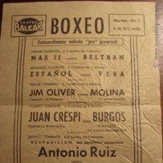 Coleccionismo deportivo: PASQUIN VELADA BOXEO TEATRO BALEAR PALMA MALLORCA AÑOS 40.. Lote 53188709