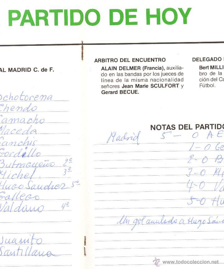 Coleccionismo deportivo: PROGRAMA DEL PARTIDO REAL MADRID - AEK ATENAS. COPA UEFA 1985. Envío: 1,30 € *. - Foto 5 - 49842284