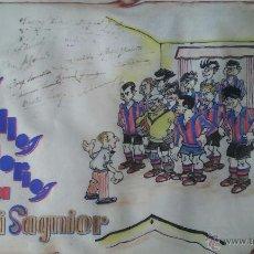 Coleccionismo deportivo: DIBUJO FIRMA RIBLAVA, DEDICAT A IGNASI SAGNIER 1935 FUTBOL CLUB BARCELONA, JOSEP SAMITIER I ALTRES. Lote 53515808
