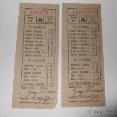 Coleccionismo deportivo: PAREJA DE RESGUARDOS DE QUINIELA CORRELATIVOS Y PERFECTOS.LIGA DE FÚTBOL 1953. Lote 53694948