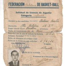Coleccionismo deportivo: FEDERACION CATALANA DE BASKET BALL BASQUET BALONCESTO SOLICITUD JUGADOR INFANTIL BARCELONA 1936 (7. Lote 53858259