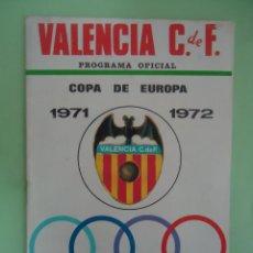 Coleccionismo deportivo: PROGRAMA OFICIAL COPA DE EUROPA VALENCIA C.F. U.S. LUXEMBURGO. . TEMPORADA 1971-72. Lote 53988042