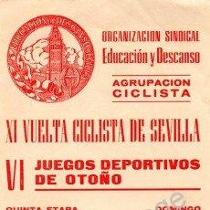 Coleccionismo deportivo: SEVILLA, CARTEL XI VUELTA CICLISTA A SEVILLA,1969, ETAPA SEVILLA-ECIJA,100X230MM. Lote 54366656