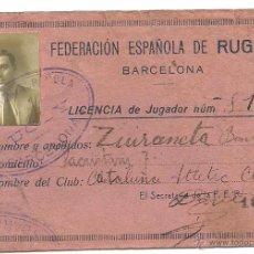 Coleccionismo deportivo: (F-1466)LICENCIA JUGADOR DE RUGBY , CLUB NATACION ATLETIC TEMPORADA 1922. Lote 54366670