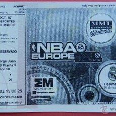 Coleccionismo deportivo: ENTRADA NBA EUROPE LIVE TOUR TICKET REAL MADRID ESTUDIANTES MEMPHIS GRIZZLIES TORONTO RAPTORS 2007. Lote 54736941