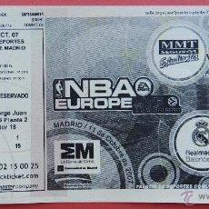 Coleccionismo deportivo: ENTRADA NBA EUROPE LIVE TOUR REAL MADRID ESTUDIANTES MEMPHIS GRIZZLIES TORONTO RAPTORS 2007 TICKET . Lote 54736952