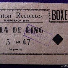 Coleccionismo deportivo: ANTIGUA ENTRADA DEL FRONTON RECOLETOS DE BOXEO (MADRID). AÑO 1946.. Lote 55689386
