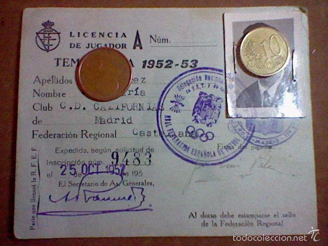 FICHA FEDERACION REGIONAL CASTELLANA TEMPORADA 1952 53 FUTBOL C. D . CALIFORNIAS MADRID (Coleccionismo Deportivo - Documentos de Deportes - Otros)