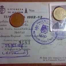 Coleccionismo deportivo: FICHA FEDERACION REGIONAL CASTELLANA TEMPORADA 1952 53 FUTBOL C. D . CALIFORNIAS MADRID . Lote 55782930
