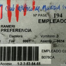 Coleccionismo deportivo: CARNET ORIGINAL CLAUDIO RANIERI ENTRENADOR TEMPORADA 1999 2000 ATLETICO DE MADRID AT. MADRID. Lote 53821809