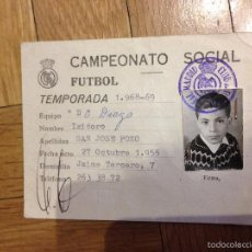 Coleccionismo deportivo: R3276 CARNET DE JUGADOR ISIDORO SAN JOSE REAL MADRID TEMPORADA 1968 1969 EQUIPO D DE DIEGO. Lote 56374179