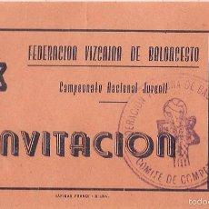 Coleccionismo deportivo: ENTRADA-INVITACIÓN, CAMPEONATO NACIONAL JUVENIL, FEDERACIÓN VIZCAÍNA BALONCESTO. Lote 56693673