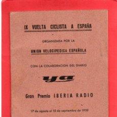 Coleccionismo deportivo: IX VUELTA CICLISTA A ESPAÑA 1950. Lote 57561773