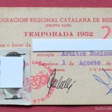 Coleccionismo deportivo: CARNET ARBITRO NACIONAL DE BEISBOL - FEDERACION REGIONAL CATALANA DE BEISBOL - TEMPORADA 1952 -. Lote 57705234