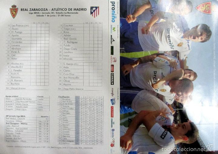 HOJA PRENSA PALCO PROGRAMA REAL ZARAGOZA ATLETICO DE MADRID LA ROMAREDA (Coleccionismo Deportivo - Documentos de Deportes - Otros)