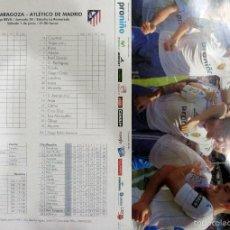 Coleccionismo deportivo: HOJA PRENSA PALCO PROGRAMA REAL ZARAGOZA ATLETICO DE MADRID LA ROMAREDA. Lote 199948668