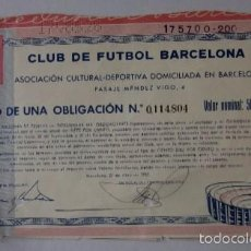 Coleccionismo deportivo: TITULO OBLIGACION DEL C.F. BARCELONA - CONSTRUCCION DEL CAMP NOU DEL AÑO 1957. Lote 58021449
