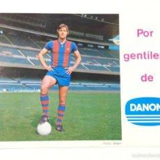 Coleccionismo deportivo: LOTERIA NACIONAL FUNCIONARIOS FC BARCELONA AÑO 1976, TARZAN MIGUELI, BARÇA, TAMAÑO POSTAL.. Lote 58295703