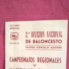 Coleccionismo deportivo: BALONCESTO. CALENDARIO DE CAMPEONATOS REGIONALES Y NACIONALES JUVENILES. 1965-66. Lote 58395343