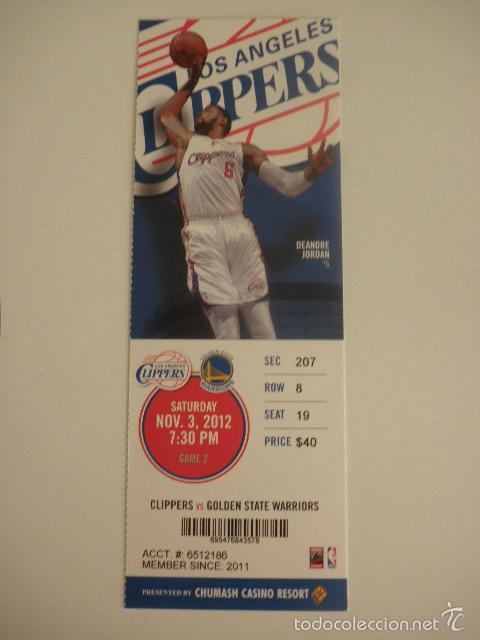ENTRADA PARTIDO NBA - LOS ANGELES CLIPPERS VS GOLDEN STATE WARRIORS - DEANDRE JORDAN - AÑO 2012 (Coleccionismo Deportivo - Documentos de Deportes - Otros)