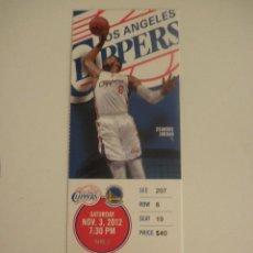 Coleccionismo deportivo: ENTRADA PARTIDO NBA - LOS ANGELES CLIPPERS VS GOLDEN STATE WARRIORS - DEANDRE JORDAN - AÑO 2012. Lote 58503731