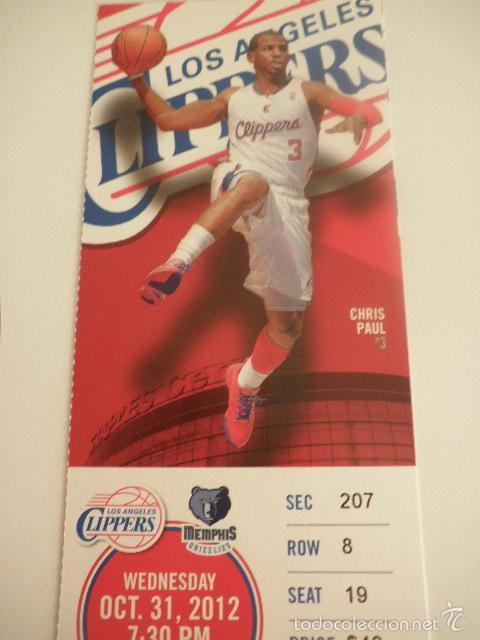 ENTRADA PARTIDO NBA - LOS ANGELES CLIPPERS VS MEMPHIS GRIZZLIES - CHRIS PAUL - AÑO 2012 (Coleccionismo Deportivo - Documentos de Deportes - Otros)