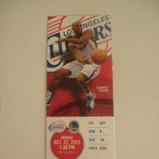 Coleccionismo deportivo: ENTRADA PARTIDO NBA - LOS ANGELES CLIPPERS VS GOLDEN STATE WARRIORS - CHAUNCEY BILLUPS - AÑO 2012. Lote 125171020