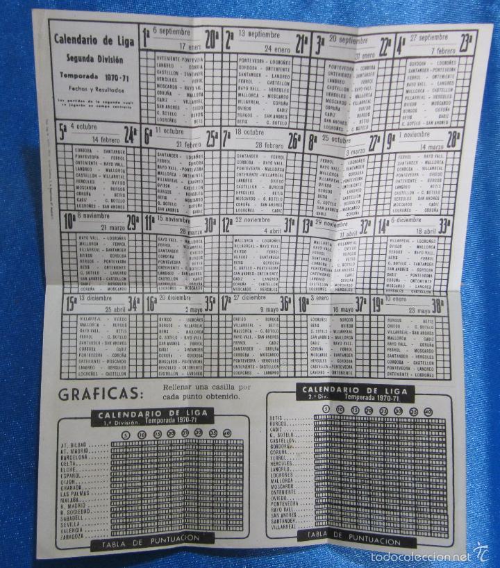 Coleccionismo deportivo: CALENDARIO Y RESULTADOS CAMPEONATO DE LIGA 1ª Y 2ª DIVISIÓN. TEMPORADA 1970 - 71. REGALO DE ZORBA... - Foto 3 - 58579611