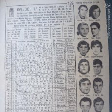 Coleccionismo deportivo: ANTIGUA HOJA DE FUTBOL - JUGADORES EQUIPOS ...- OVIEDO. Lote 58654249