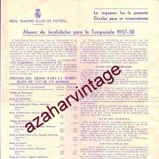 Coleccionismo deportivo: REAL MADRID C.F., TEMPORADA 1957 - 58,CIRCULAR ABONO DE LOCALIDADES, MUY RARO. Lote 58890261