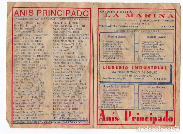 Coleccionismo deportivo: HOJA DEPORTIVA. GIJÓN ASTURIAS AÑOS 40 O 50. PUBLICIDAD ANIS PRINCIPADO. INVICTA RADIO - Foto 2 - 61618044