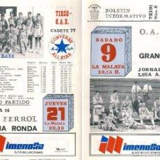 Coleccionismo deportivo: BOLETÍN INFORMATIVO CLUB BALONCESTO OAR FERROL - GRANOLLERS Nº 6 7 NOVIIEMBRE 1991. Lote 62442048