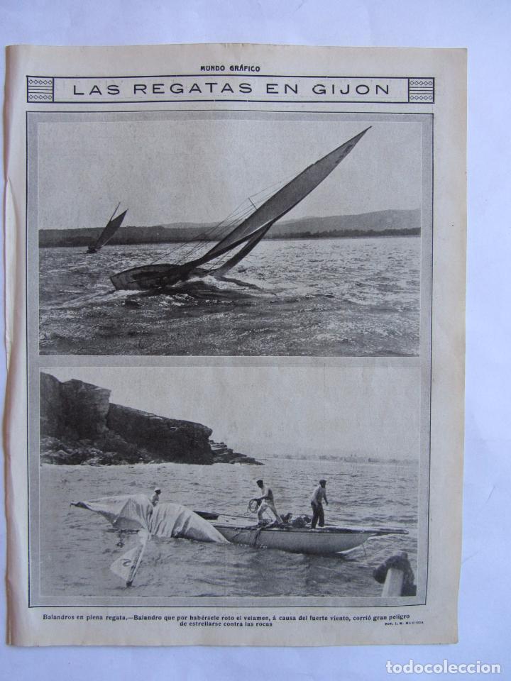 RECORTE MUNDO GRAFICO 06-10-1915 REGATAS EN GIJON. ***020 (Coleccionismo Deportivo - Documentos de Deportes - Otros)