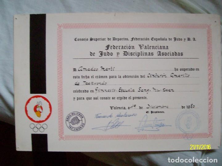DIPLOMA DE LA FEDERACION VALENCIANA DE JUDO AÑO 1980 (Coleccionismo Deportivo - Documentos de Deportes - Otros)