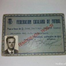 Coleccionismo deportivo: CARNET - FEDERACION CATALANA DE FUTBOL - CF CAMPDEVANOL - AÑO 1950. Lote 68753861