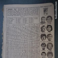 Coleccionismo deportivo: FUTBOL INFORMACION DEPORTIVA - CLUB EQUIPO PLANTILLA LIGA JUGADORES - JEREZ. Lote 69069041