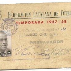 Coleccionismo deportivo: (F-161274)CARNET DE PREPARADOR DE LA F.C.DE FUTBOL DE MANUEL CROS JUGADOR C.D.EUROPA AÑOS 20. Lote 69849333