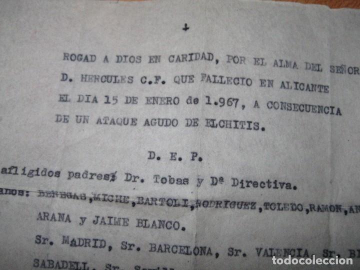 Coleccionismo deportivo: ANTIGUO DOCUMENTO ALICANTE ORACION FUNEBRE HERCULES FALLECIDO ANTE EL ELCHE DE ELCHITIS 1967 - Foto 2 - 70359205