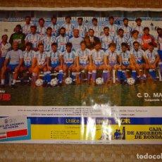 Coleccionismo deportivo: POSTER DE FÚTBOL, CLUB DEPORTIVO MÁLAGA EQUIPO ALINEACIÓN PLANTILLA. TEMPORADA 1987 1988. 58 X 40 CM. Lote 99749868