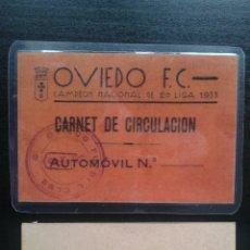 Coleccionismo deportivo: CARNET DE CIRCULACIÓN AÑO 1935 NUEVO REAL OVIEDO CLUB DE FÚTBOL PARA EL APARCAMIENTO. Lote 179000317