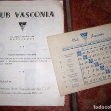 Coleccionismo deportivo: PROGRAMA , CLUB VASCONIA BARCELONA . CAMPEONATO SOCIAL Y DE CATALUÑA DE CESTA PUNTA 1949. Lote 73835791