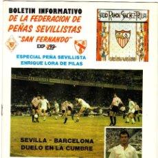 Coleccionismo deportivo: PROGRAMA BOLENTIN INFORMATIVO.SEVILLA FC-FC.BARCELONA.25/11/1990.. Lote 74092027