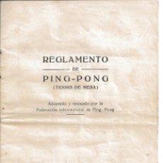 Coleccionismo deportivo: REGLAMENTO DEL JUEGO DE PING PONG PIN PON TENNIS TENIS DE MESA FEDERACION INTERNACIONAL. Lote 74427547