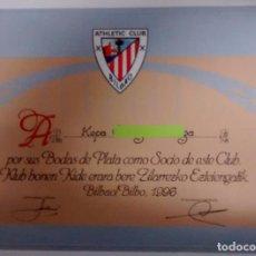 Coleccionismo deportivo: DIPLOMA, ATHLETIC CLUB DE BILBAO POR BODAS DE PLATA A UN SOCIO. Lote 75204847