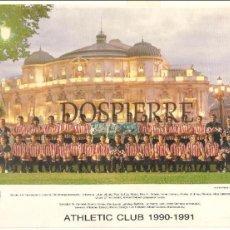 Coleccionismo deportivo: MINIPOSTER-TARJETA PLANTILLA ATHLETIC DE BILBAO TEMPORADA 1990-1991. Lote 75210883