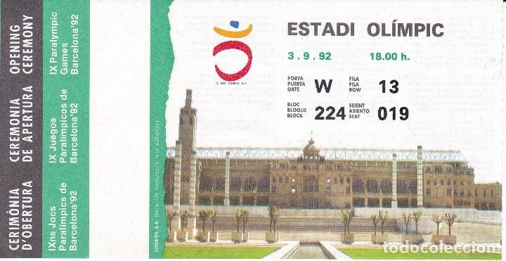 ENTRADA DE LA CEREMONIA DE APERTURA DE LOS IX JUEGOS PARALIMPICOS DE BARCELONA'92 (F.N.M.T.) (Coleccionismo Deportivo - Documentos de Deportes - Otros)